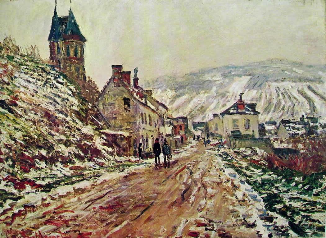 Claude Monet: Strada a Vetheuil d'inverno