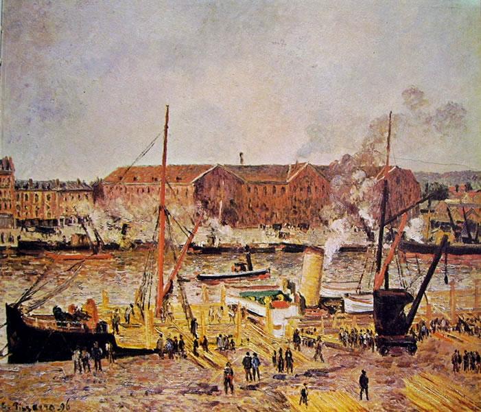 Camille Pissarro: Lo scarico del legname a Rouen