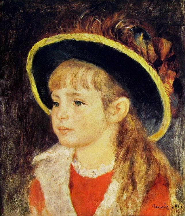 Bambina con cappello profilato di Pierre-Auguste Renoir, 1881, 40 x 35, Proprietà privata Parigi