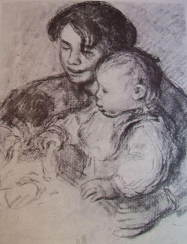 Renoir - Il bambino e la balia, tecnica a carboncino
