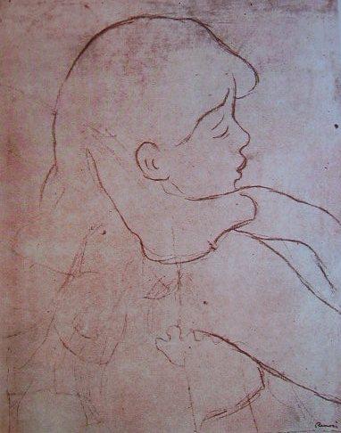Renoir - Ritratto di fanciulla, tecnica a sanguigna