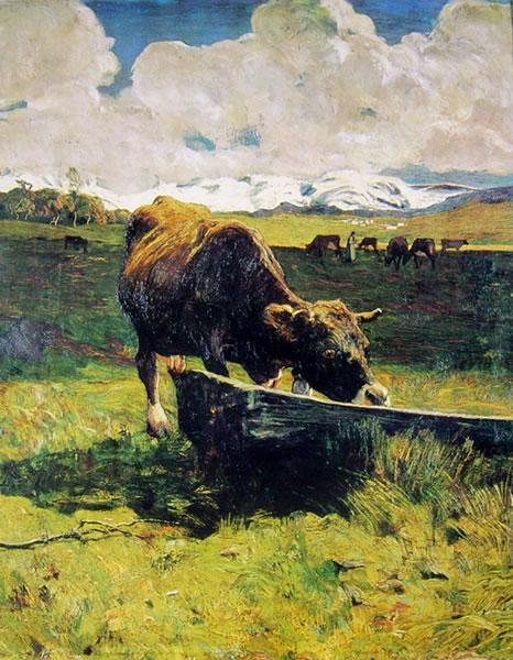 Vacca bruna all'abbeveratoio di Giovanni Segantini