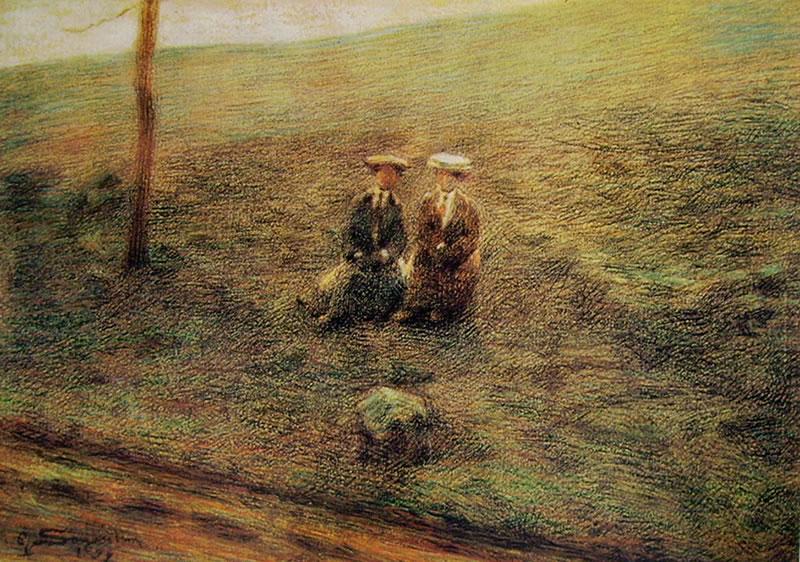 Giovanni Segantini: Paesaggio con due figure