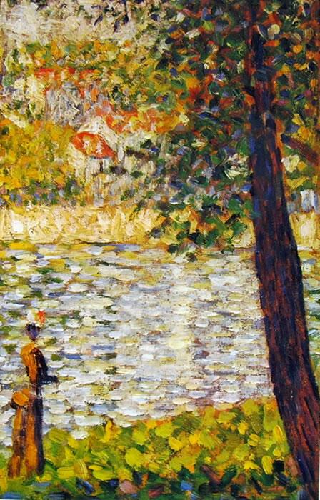 Georges-Pierre Seurat: Donna in riva alla Senna a Courbevoie