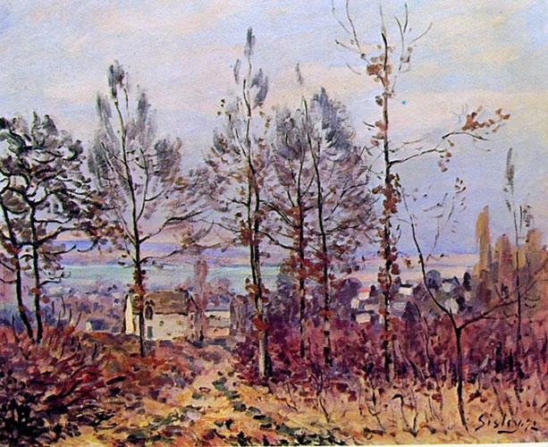 Alfred Sisley: Villaggio al limite del bosco (effetto d'autunno)