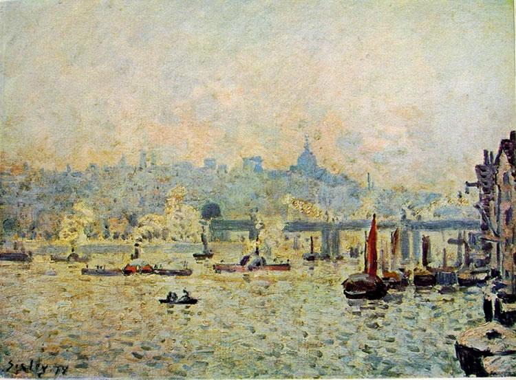 Alfred Sisley: Vista del Tamigi e del ponte di Charing Cross