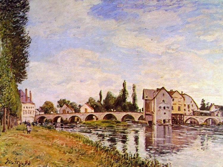 Alfred Sisley: Il ponte e i mulini di Moret d'Estate