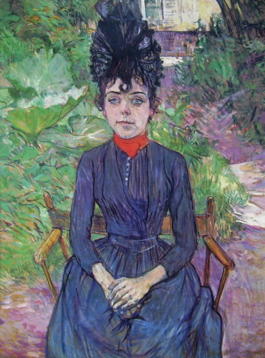 Toulouse-Lautrec: Justine Dieuhl seduta nel giardino di Forest