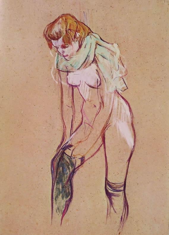 Toulouse-Lautrec: Donna che si infila una calza
