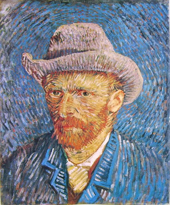 Autoritratto estate 1887 con cappello di feltro di Vincent van Gogh