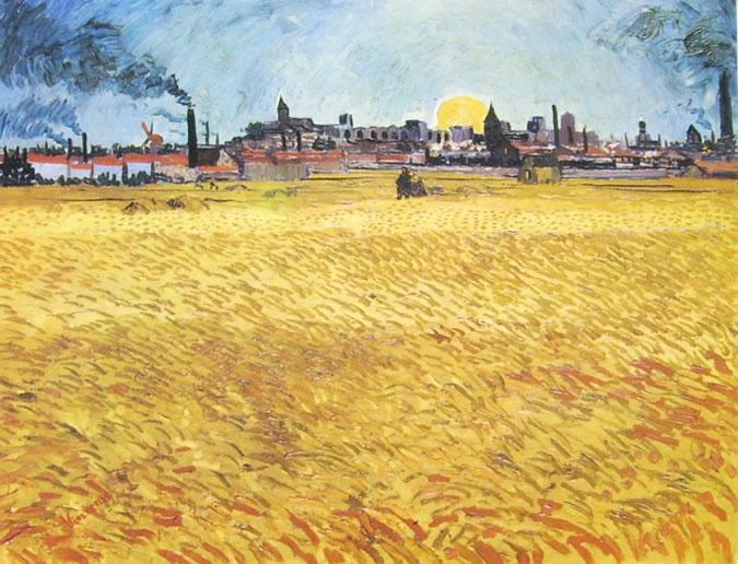 Vincent van Gogh:Campo di grano al tramonto