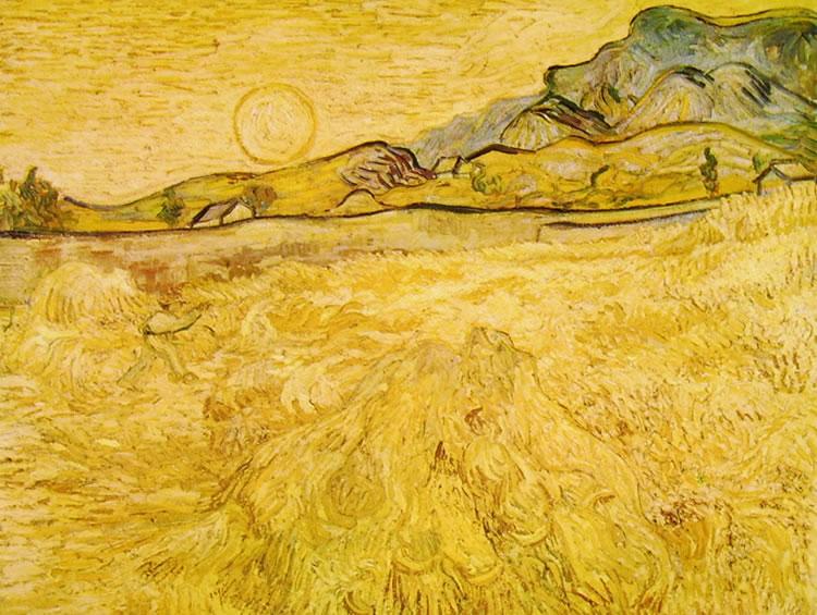 Campo d'orzo con falciatore al tramonto di Vincent van Gogh