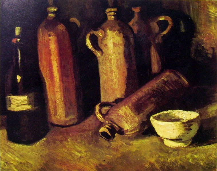 Vincent van Gogh:Natura morta con bottiglie