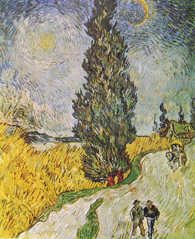 Vincent van Gogh:Strada con cipresso sotto un cielo stellato