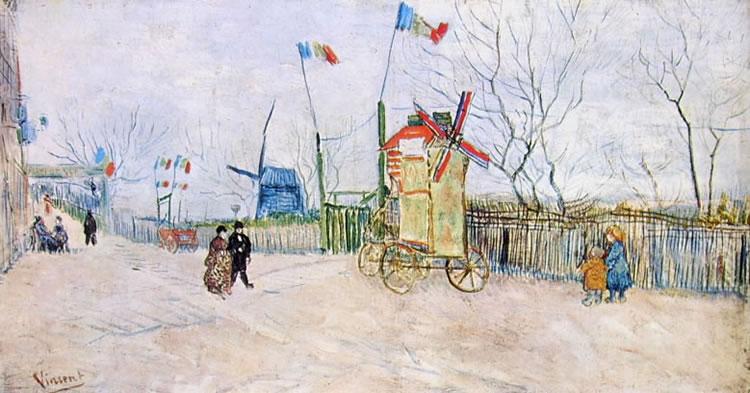 Vincent van Gogh:Veduta a Montmartre con bandiere