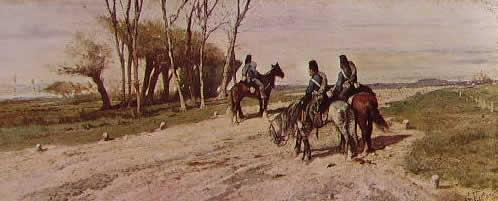Fattori - Tre cavalleggeri su una strada