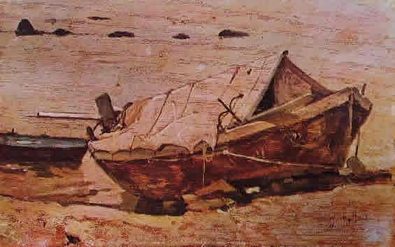 Fattori - Spiaggia con barche