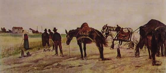 Giovanni Fattori: Carro e contadini nella campagna romana