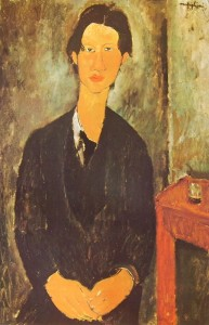 Modigliani: Chaim Soutine seduto a un tavolo, cm. 92 x 60, National Gallery of Art, Washington.