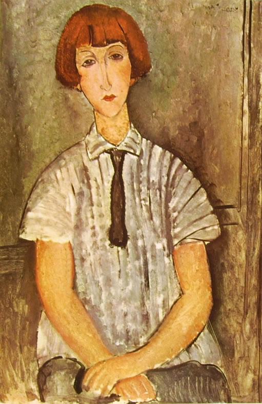 Amedeo Modigliani: Ragazza con camicetta a righe