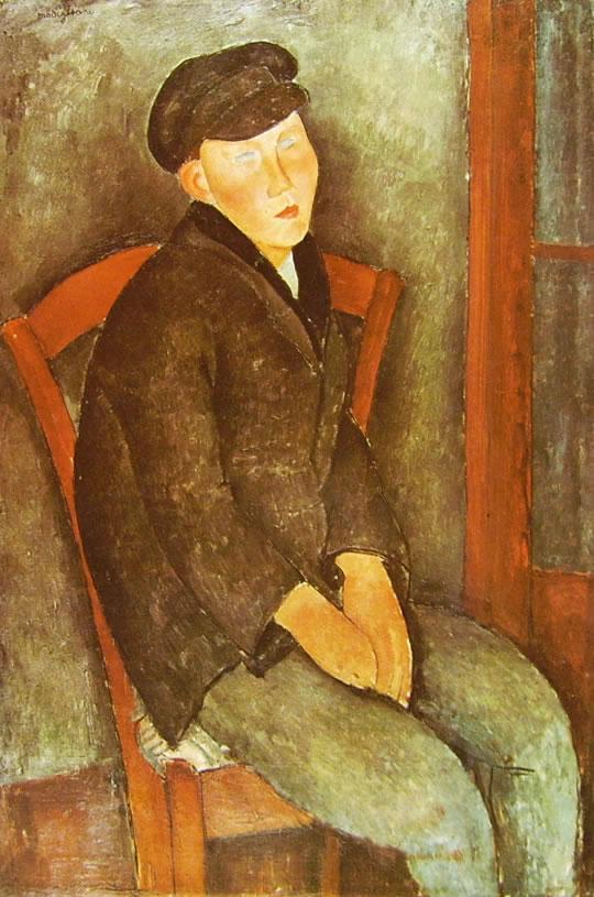 Amedeo Modigliani: Ragazzo seduto con berretto
