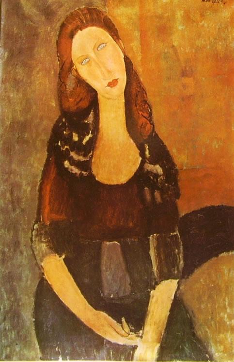 Amedeo Modigliani: Jeanne Hébuterne seduta, in fronte