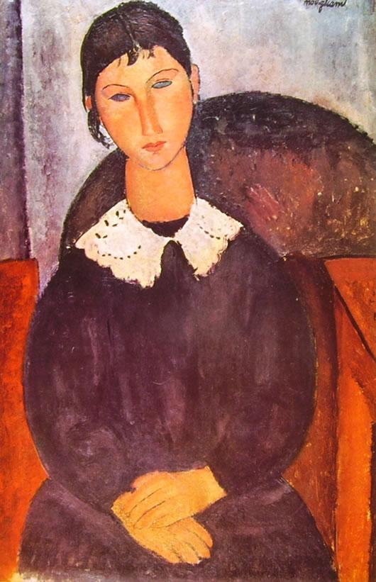 Amedeo Modigliani: Elvira con colletto bianco