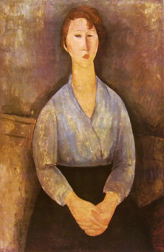 Amedeo Modigliani: Donna seduta con camicetta azzurra