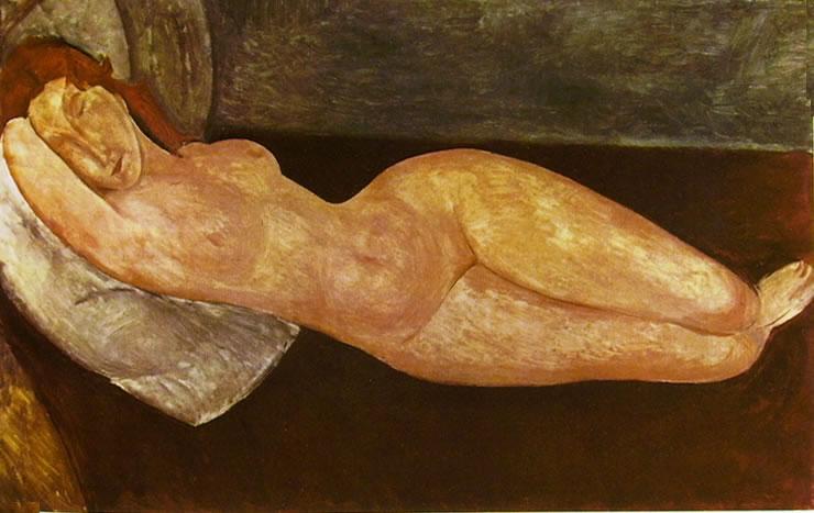 Amedeo Modigliani: Nudo coricato, col braccio destro sotto la testa