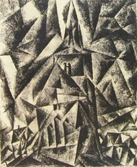 Lyonel Feininger: Umpferstedt II, anno 1916, inchiostro e carboncino, 30 x 24, Sprengel-Museum, Hannover.