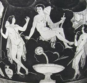 Pittore di Amico - Cratere a volute: Particolare degli Argonauti alla fontana.