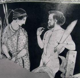 Pittore di Palermo: frammento di scifo con Atena e Marsia