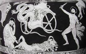 Pittore di Policorno: Idria - particolare della scena con la fuga di Medea