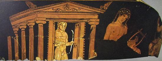 Pittore Dionisiaco: Scena di Apollo e Artemide di fronte ad un tempio