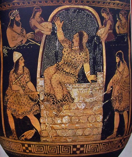 Cratere a campana di Pitone: particolare di Alcamena sul rogo