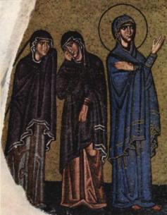 Mosaico di Nea Moni: Le tre Marie ai piedi della croce (foto Wikipedia)