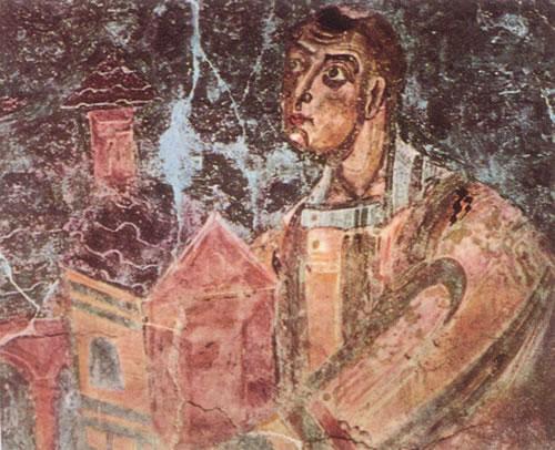Particolare della decorazione absidale nella basilica di San Vincenzo