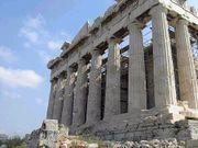 Il Partenone come si vede dalla collina della Pnice ad ovest