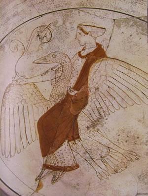 Pittore di pitosseno: Particolare della coppa con Afrodite sul cigno