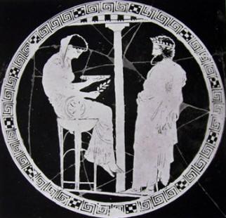 Pittore di Codro: Coppa con Egeo che consulta Temi