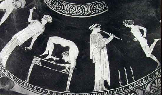 Polignoto - Particolare di Idria: danzatrici ed acrobati