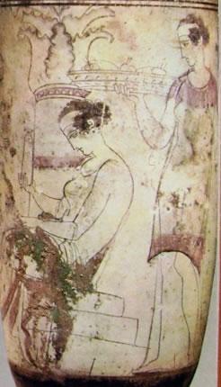 Pittore delle donne: Particolare del lekythos (Atene)