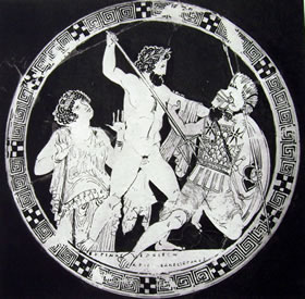 Aristofane: Particolare della coppa con Zeus che lotta con un gigante