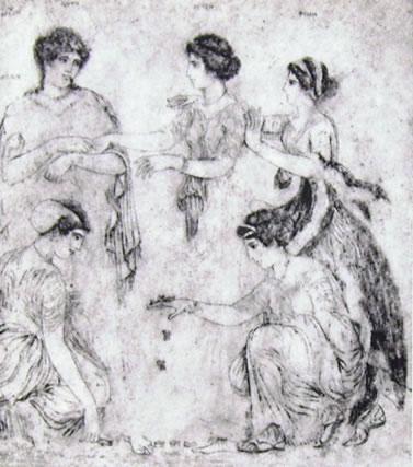 Giocatrici di aliossi, pittura su Marmo, (Ercolano)