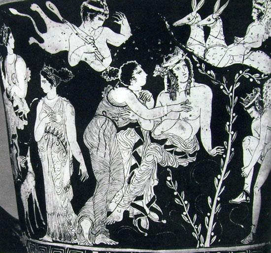 """Pittore di Midia: Particolare del """"Cratere di Palermo"""" - scena con Faone e le donne di Lesbo"""