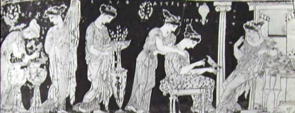 Pittore di Eretria: Epinetro - la scena della visita alla sposa nel gineeo