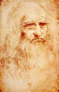 Leonardo da Vinci: Autoritratto, anno 1515 circa, sanguigna su carta, 33,5×21,6 cm. Biblioteca Reale, Torino.
