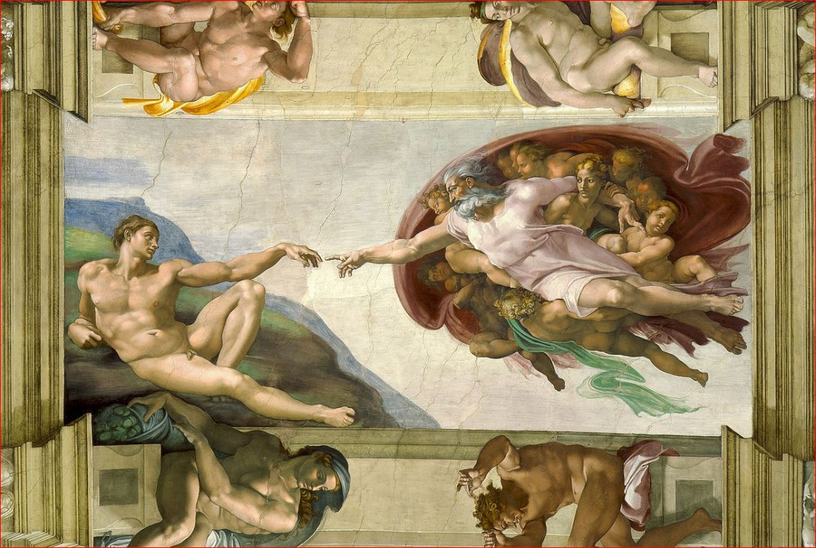 Michelangelo Buonarroti: La creazione di Adamo nel soffitto della Cappella Sistina