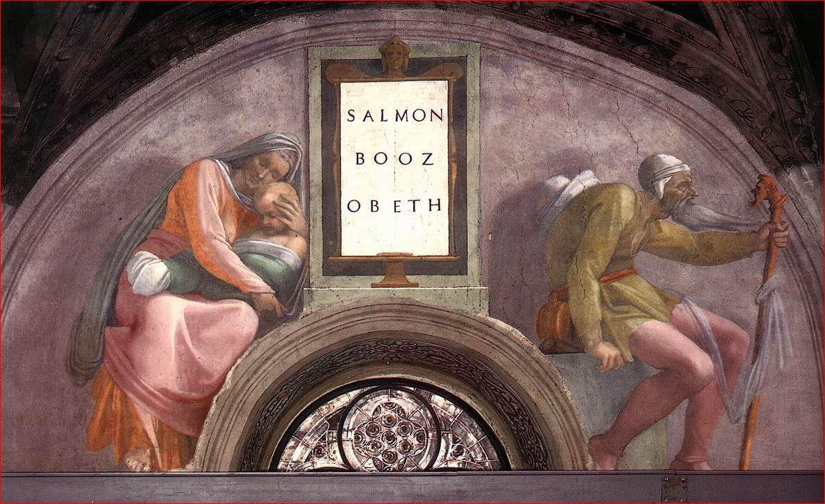 Michelangelo: lunetta con Salmon, Booz e Obed, nella decorazione della Cappella Sistina
