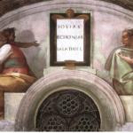 Michelangelo Buonarroti: Lunetta con Iosias Echonias e Salatiel, intorno al 1508-11, dimensioni 340 x 650 cm., Cappella Sistina, Città del Vaticano.